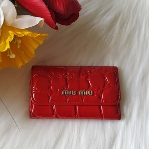 ❤MIU MIU Red Parent Leather Key Holder Wallet❤